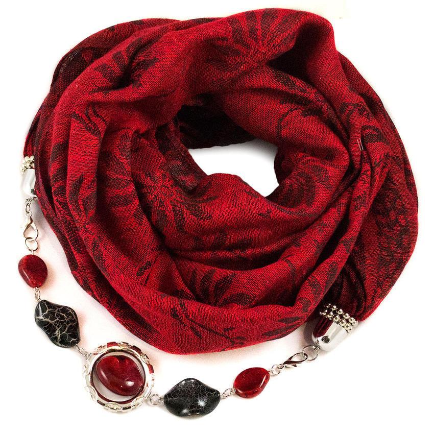 f0c1752b570 Teplá šála s bižuterií - červená - Bijoux Me!