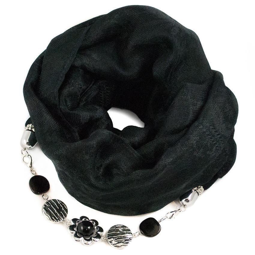 Teplá šála s bižuterií - černá