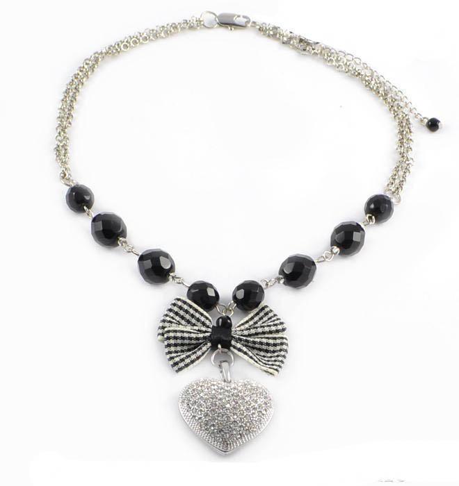 Náhrdelník Srdce 25fx070-70 - černobílý
