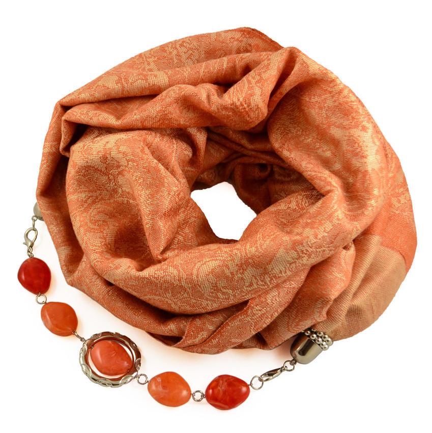 Kašmírová šála s bižuterií 490kk001-11 - oranžová