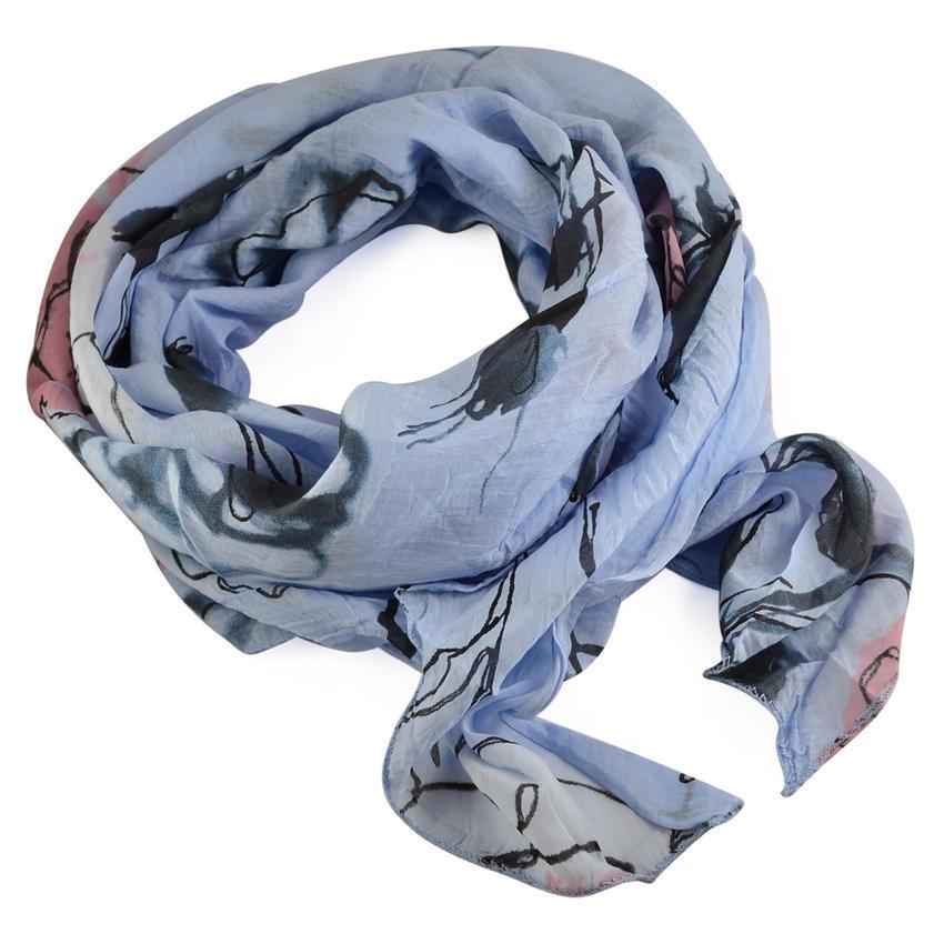 Šála bavlněná Carino 69ci004-31.36 - modrá s akvarelovými květy
