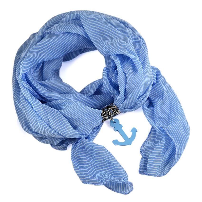 Šála Nautica 279up003-31 - bledě modrá s kotvou