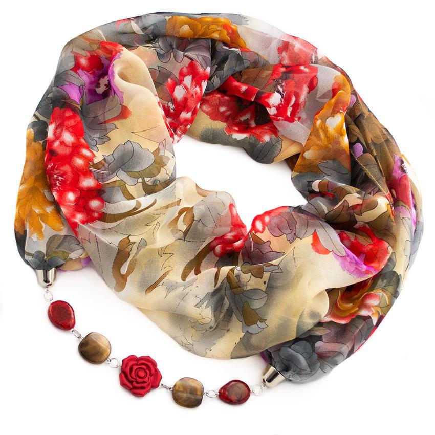 Šála s bižuterií Extravagant - šedočervená s květy
