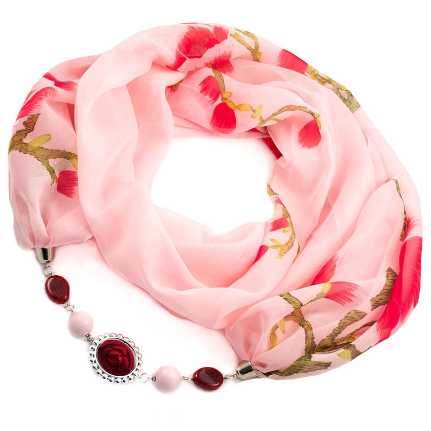 Šála s bižuterií Extravagant - růžová