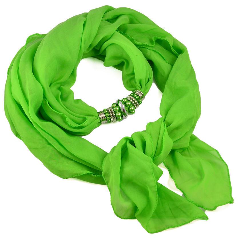Šála s bižuterií Bijoux Me - zelená