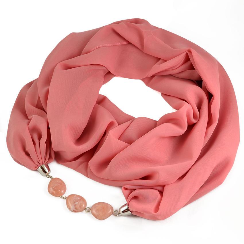 Šála s bižuterií Extravagant 396ext001-23 - růžová