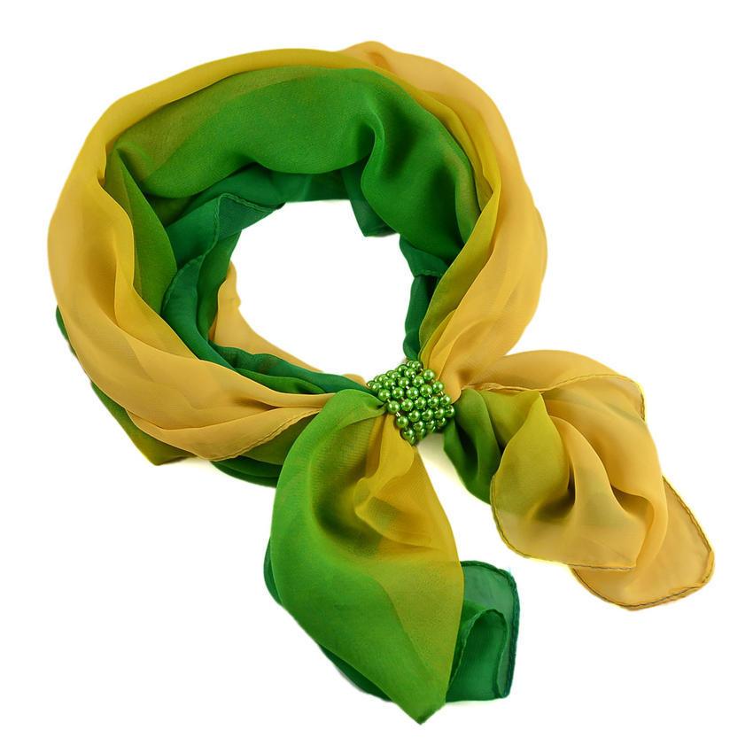 Šála se sponkou Melodie 299mel002-50.10 - žlutozelené ombre