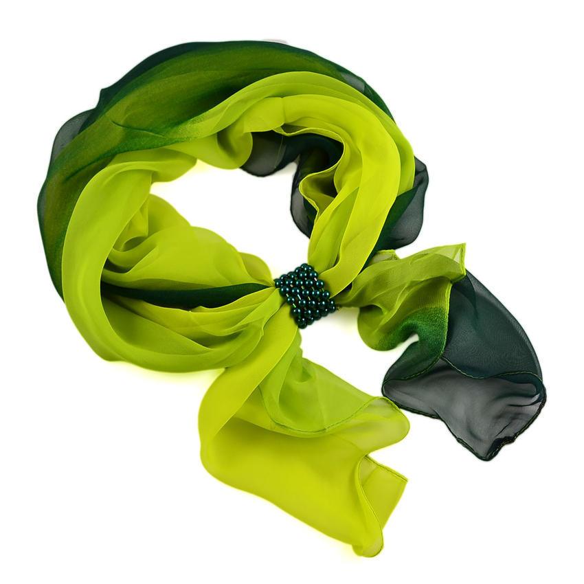 Šála se sponkou Melodie 299mel002-53.51 - zelené ombre