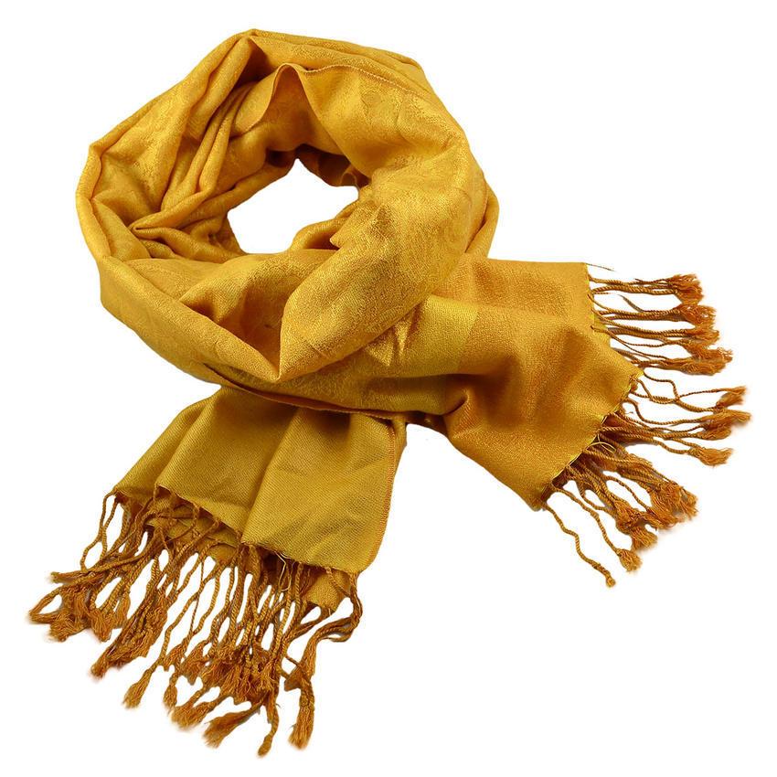 Šála teplá 69cz001-13 - žlutá jednobarevná