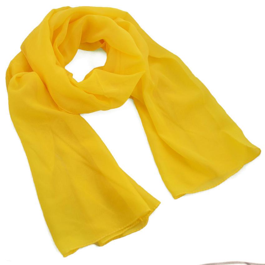 Šála vzdušná - žlutá jednobarevná