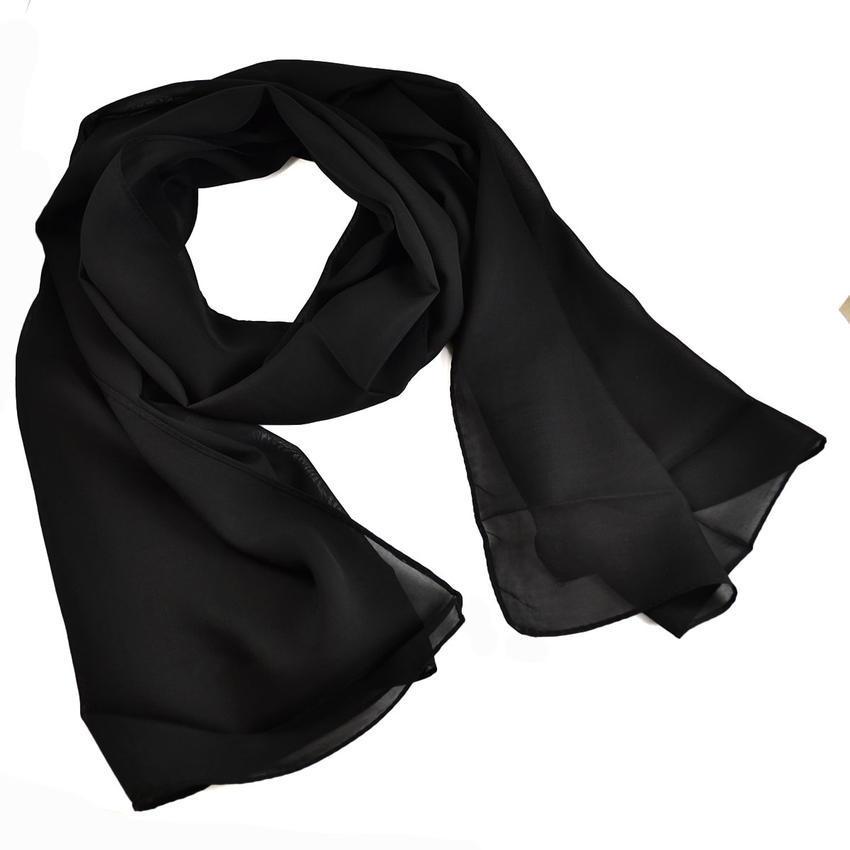 Šála vzdušná 69kl001-70 - černá jednobarevná