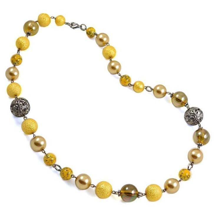 Náhrdelník Olivie 34bm001-10 - žlutý II