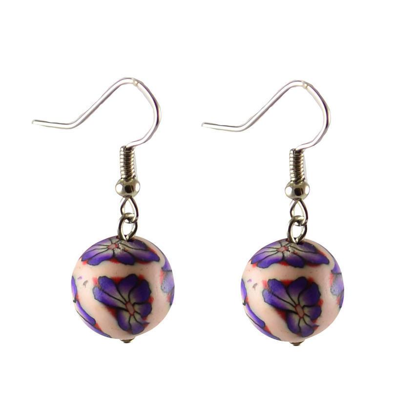 Náušnice fimo 22bm003-33a - fialové