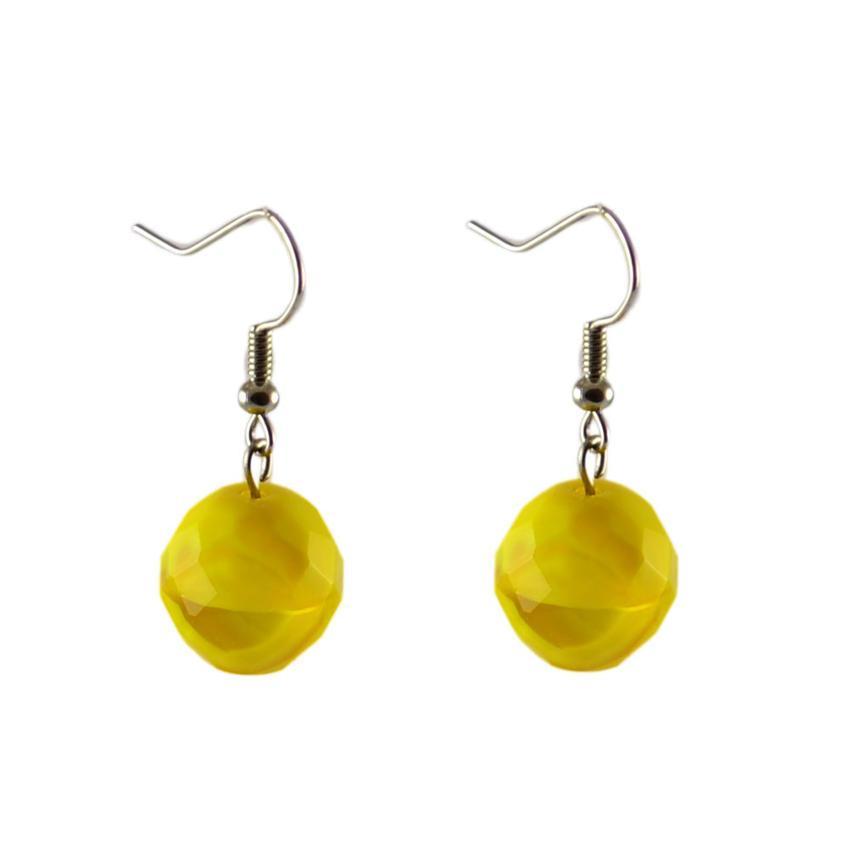 Náušnice skleněné 22bm003-10 - žluté
