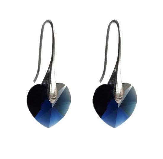 Náušnice Swarovski Elements Srdce Xilion 713akt6228-14-30m - modré