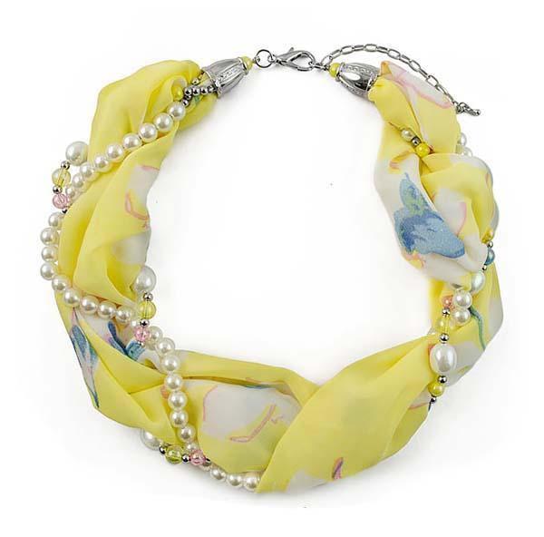 Šála s bižuterií Eleonora 299el004-10 - žlutá s květy