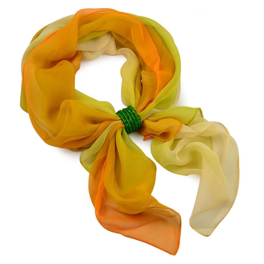 Šála se sponkou Melodie 299mel002-10.52 - žlutozelené ombre