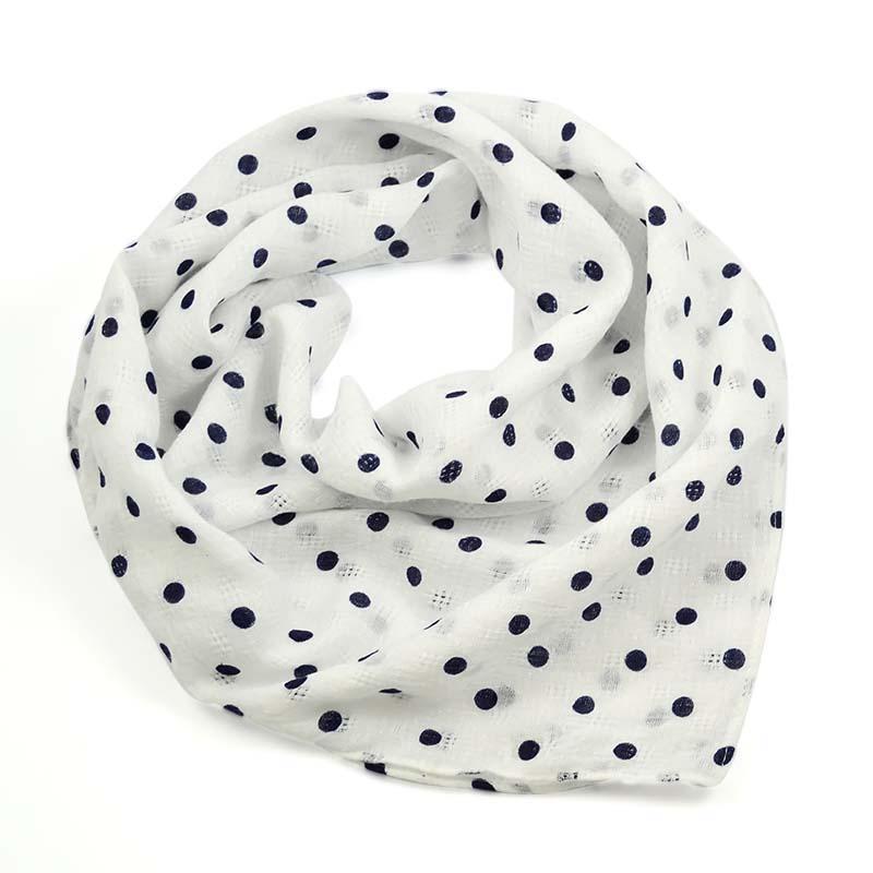 Šátek bavlněný 63sk003b-01.30 - bílý s modrými puntíky
