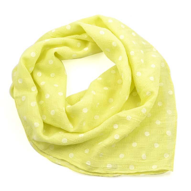 Šátek bavlněný 63sk003b-10.01 - žlutý s bílými puntíky