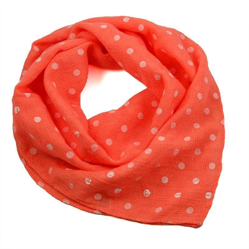 Šátek bavlněný 63sk003b-11.01 - oranžový s bílými puntíky