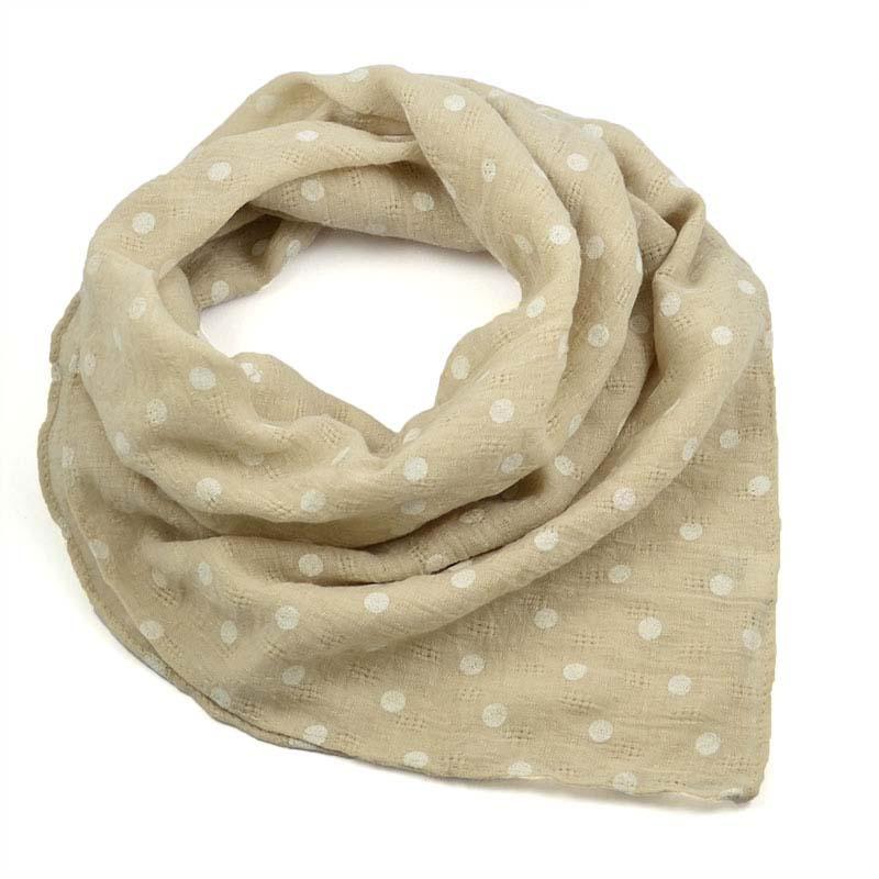 Šátek bavlněný 63sk003b-14.01 - béžový s bílými puntíky