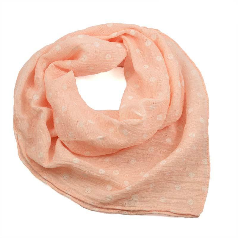 Šátek bavlněný 63sk003b-23.01 - růžový s bílými puntíky