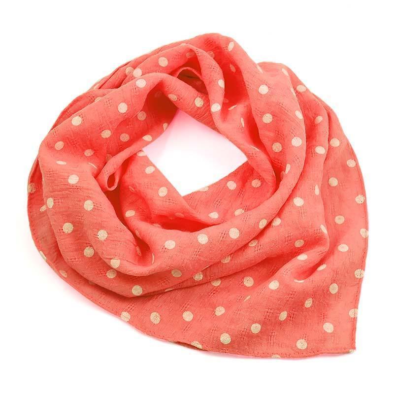 Šátek bavlněný 63sk003b-27.01 - sytě růžový s bílými puntíky