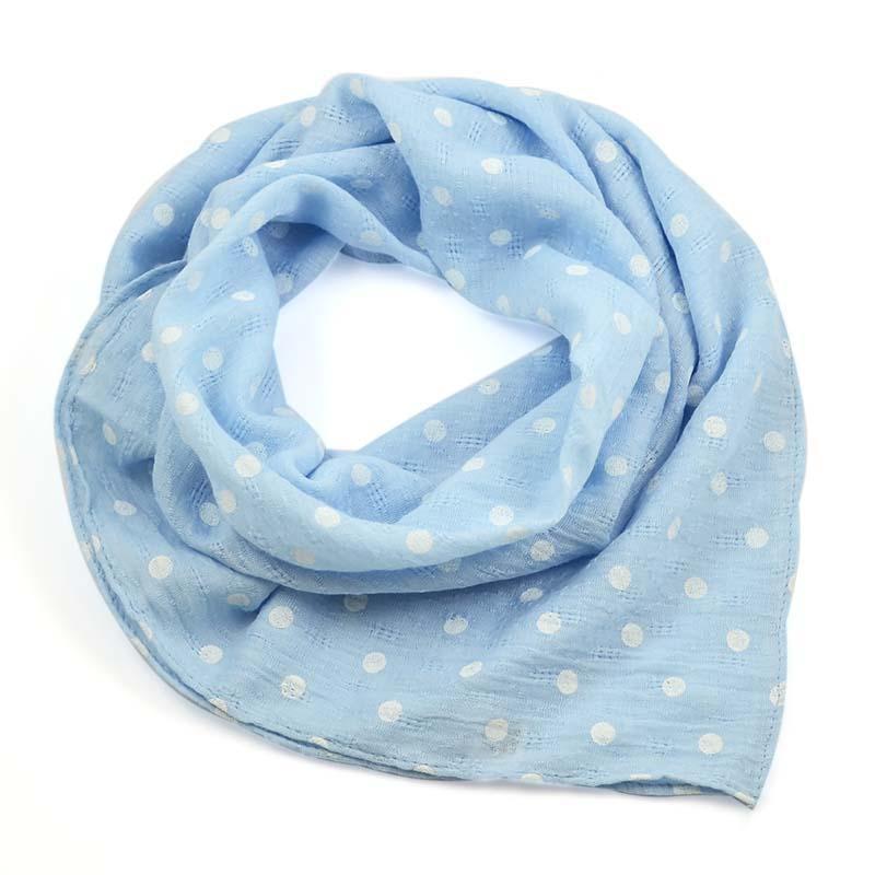 Šátek bavlněný 63sk003b-31.01 - bledě modrý s bílými puntíky
