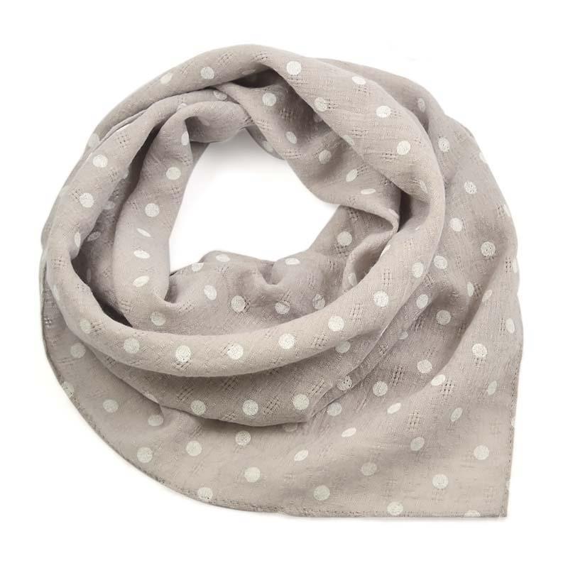 Šátek bavlněný 63sk003b-71.01 - šedý s bílými puntíky