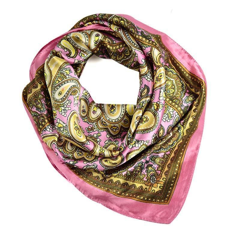 Šátek saténový 63sk009-23.40 - růžovo-hnědý paisley