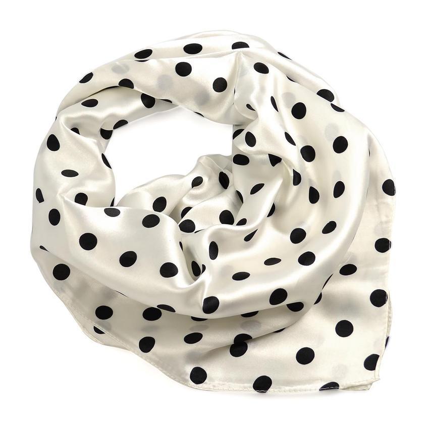 Šátek saténový 63sk003-01.70a - bílý s černými puntíky