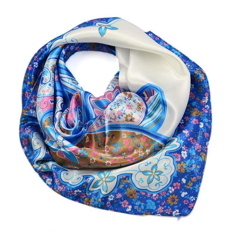 Šátek saténový 63sk004-01.30 - modrý s květinovým vzorem
