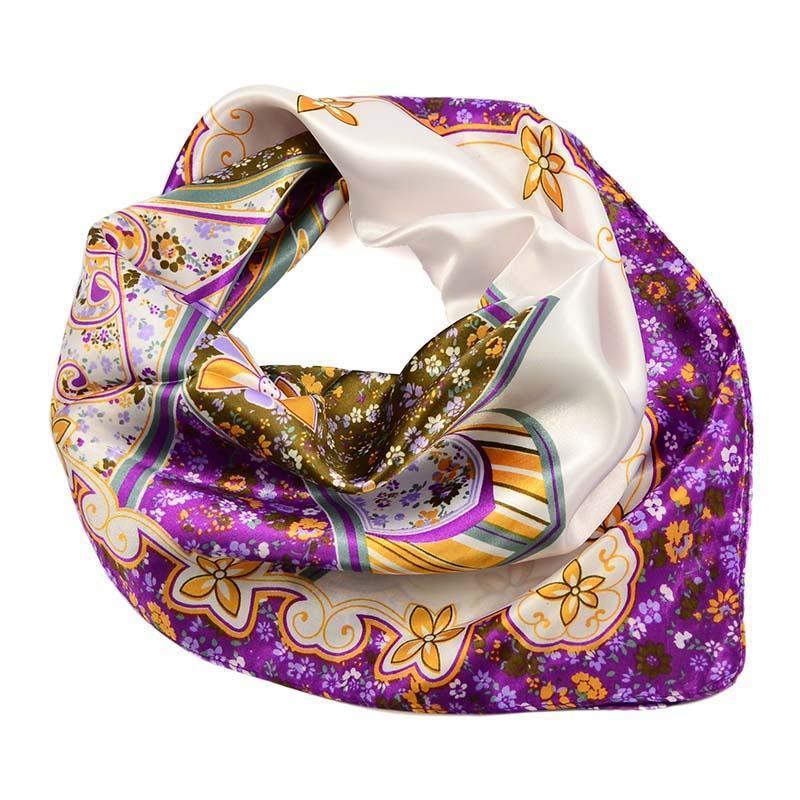 Šátek saténový 63sk004-01.33 - fialový s květinovým vzorem