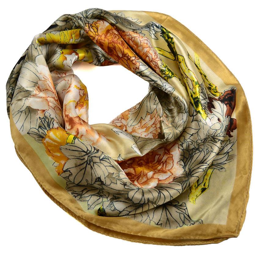 Šátek saténový 63sk004-14.11 - béžový s akvarelovými květinami