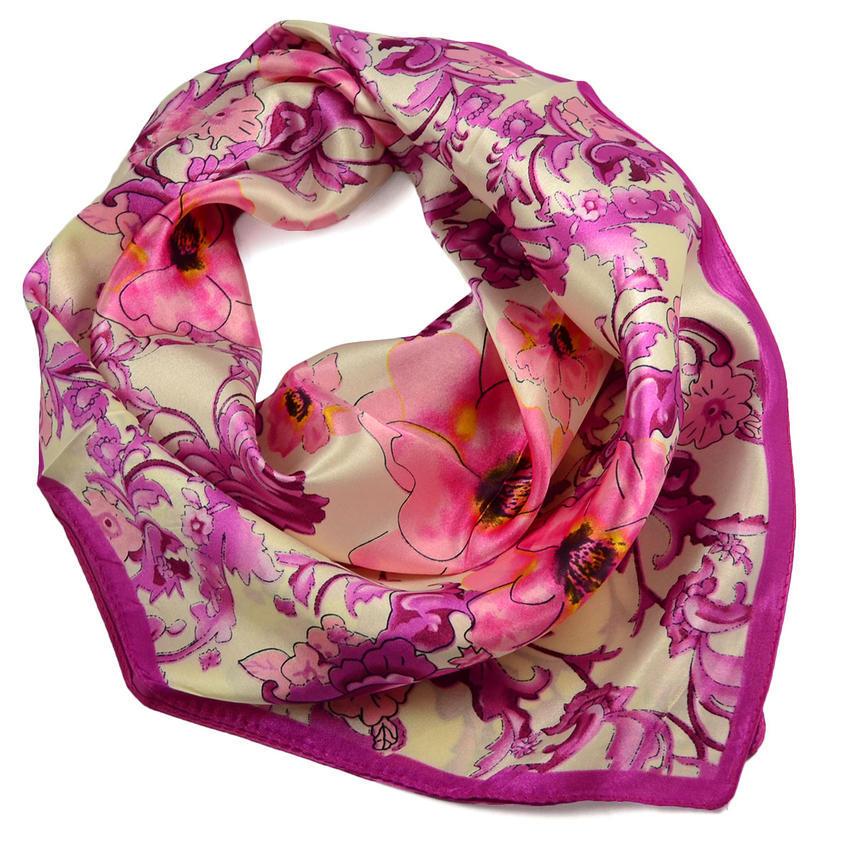 Šátek saténový 63sk004-14.25 - béžovorůžový, porcelánové květiny