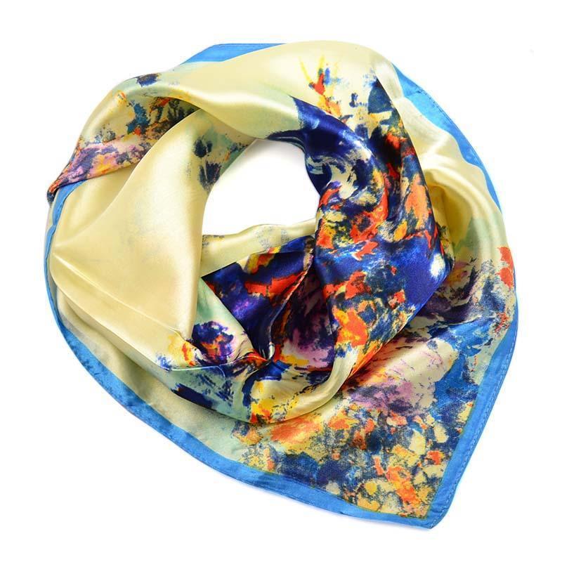 Šátek saténový 63sk004-14.30 - béžovomodrý s akvarelovými kytičkami