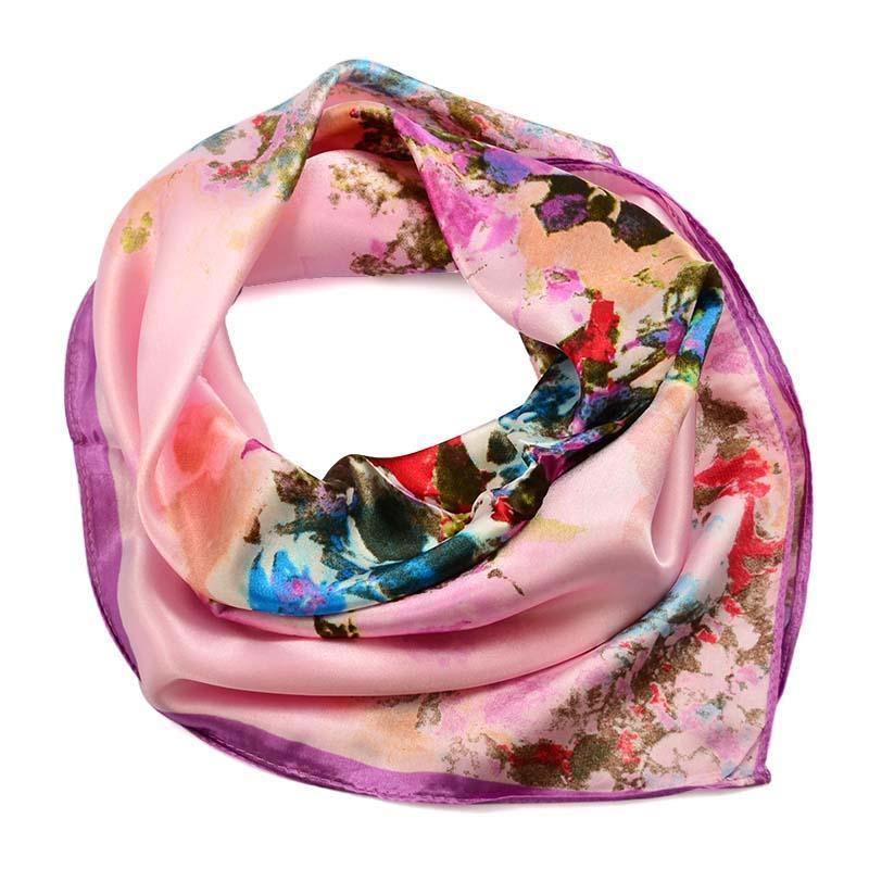 Šátek saténový 63sk004-23 - růžový s akvarelovými kytičkami