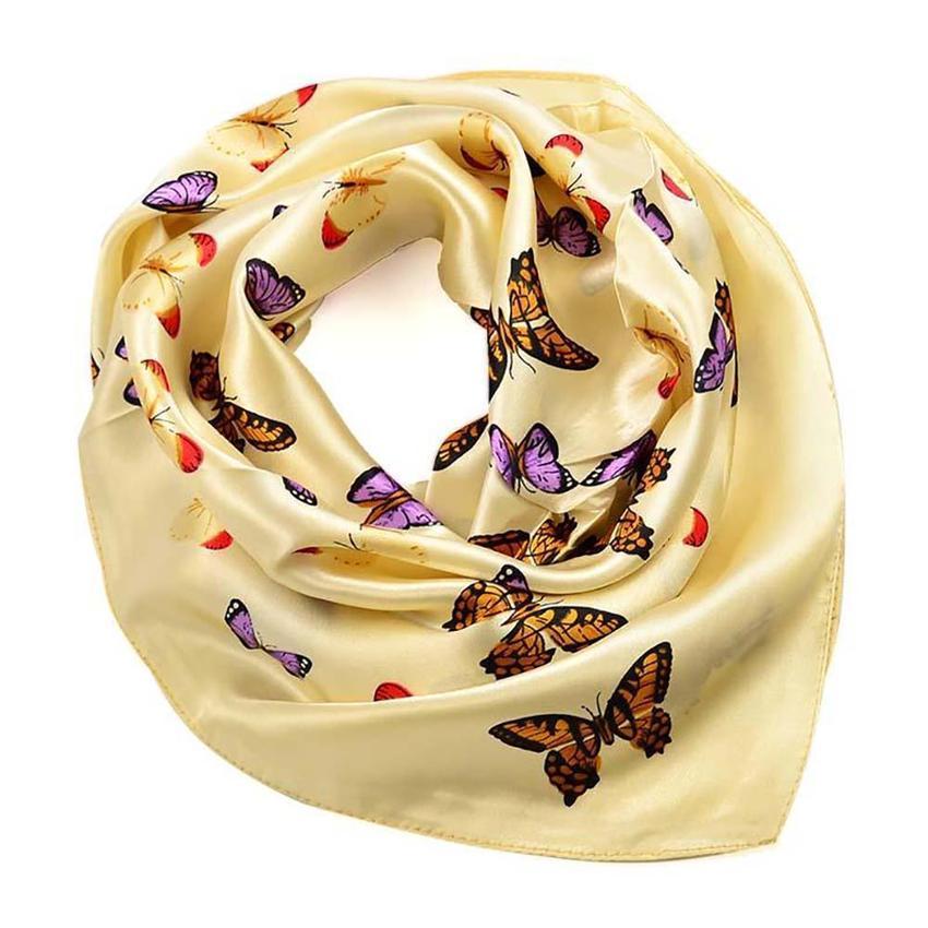 Šátek saténový 63sk005-14.02 - béžový s motýlky