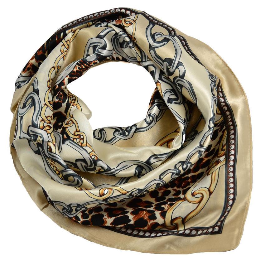 Šátek saténový 63sk007-14.40 - béžovohnědý, leopardí potisk