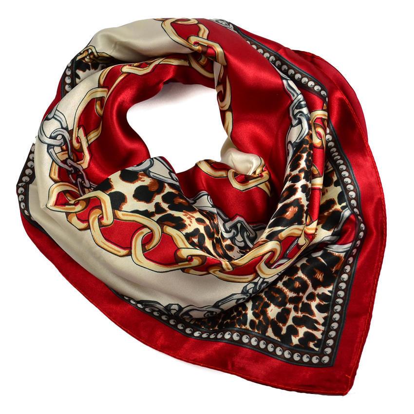 Šátek saténový 63sk007-20.40 - červenohnědý, leopardí potisk
