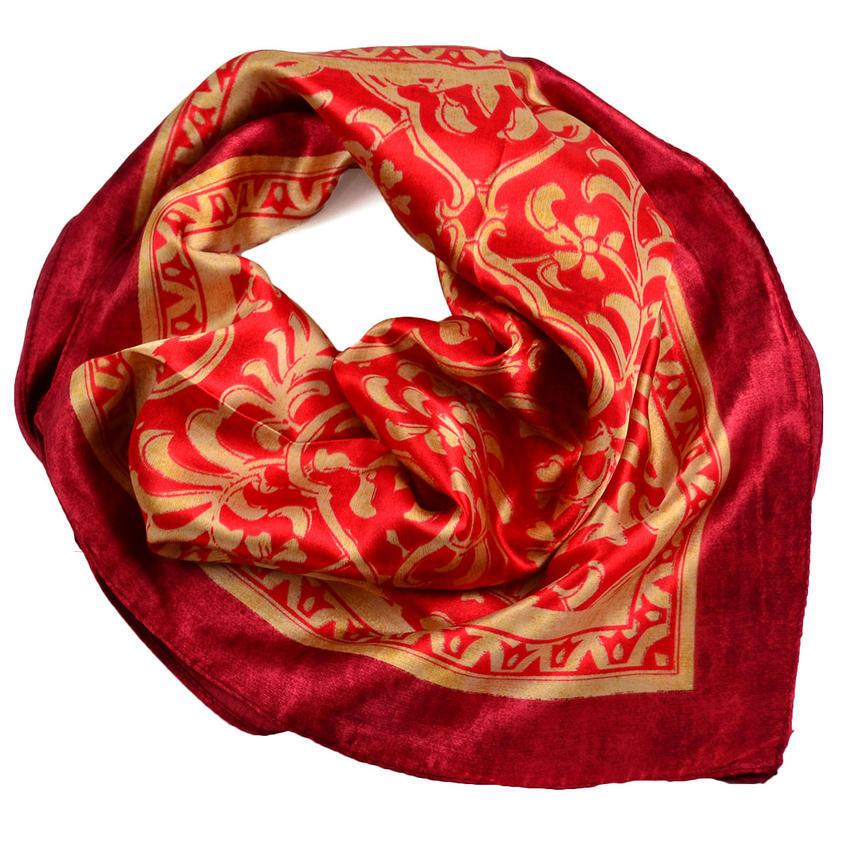 Šátek saténový 63sk009-20.13 - červený se zlatým vzorem