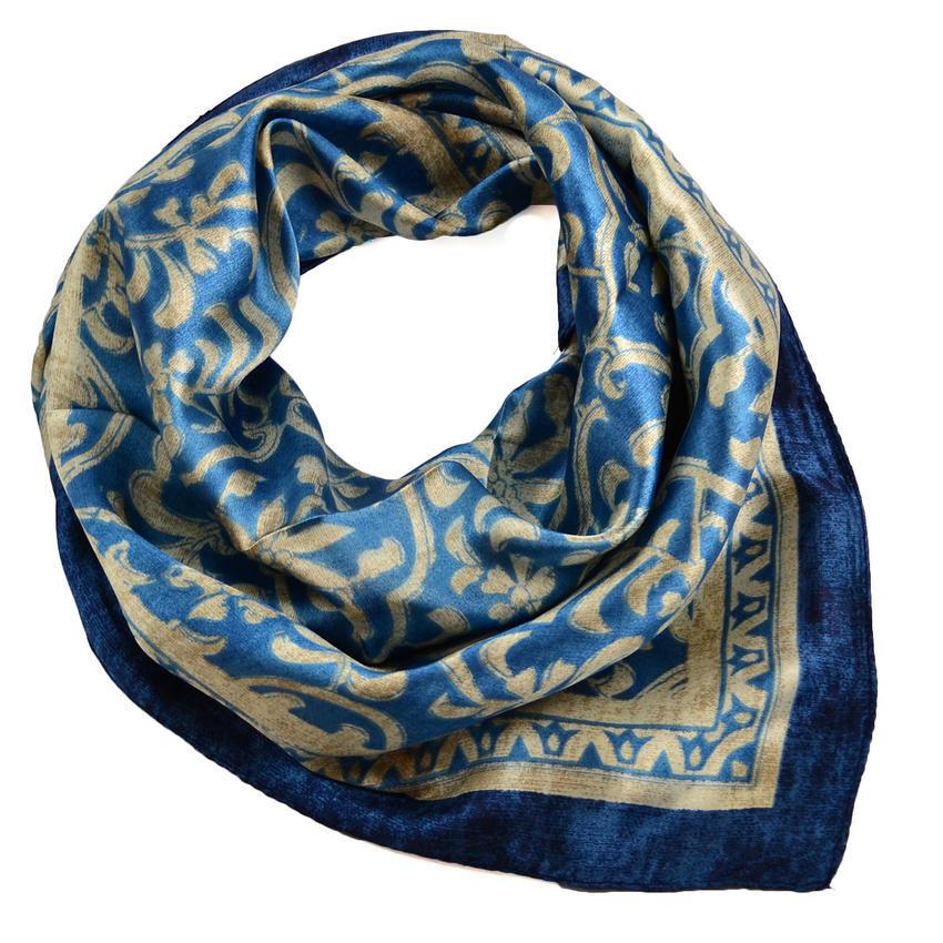 Šátek saténový 63sk009-30.13 - modrý se zlatým vzorem