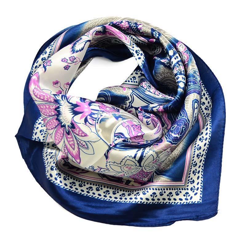 Šátek saténový 63sk010-30.01 - modrobílý, paisley