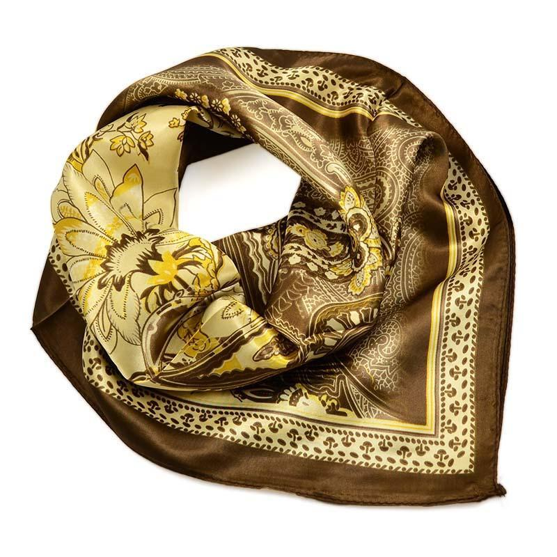 Šátek saténový 63sk010-40 - hnědý, paisley
