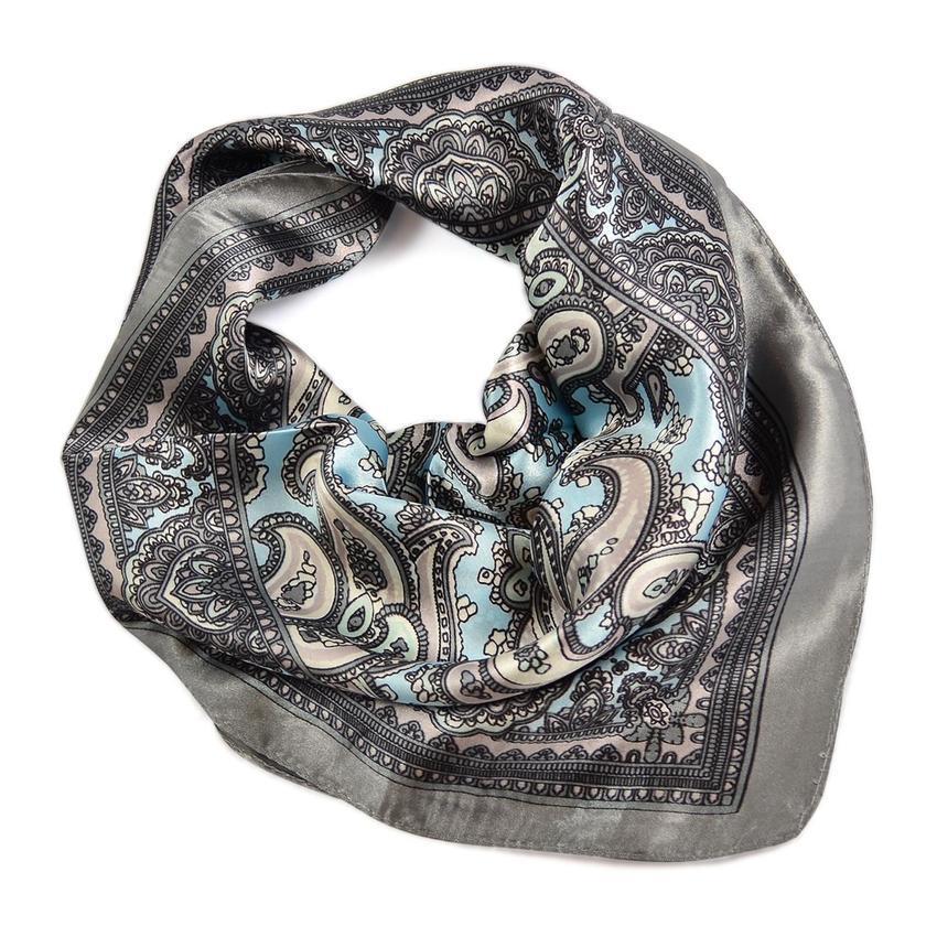 Šátek saténový 63sk010-71.23 - šedorůžový, paisley