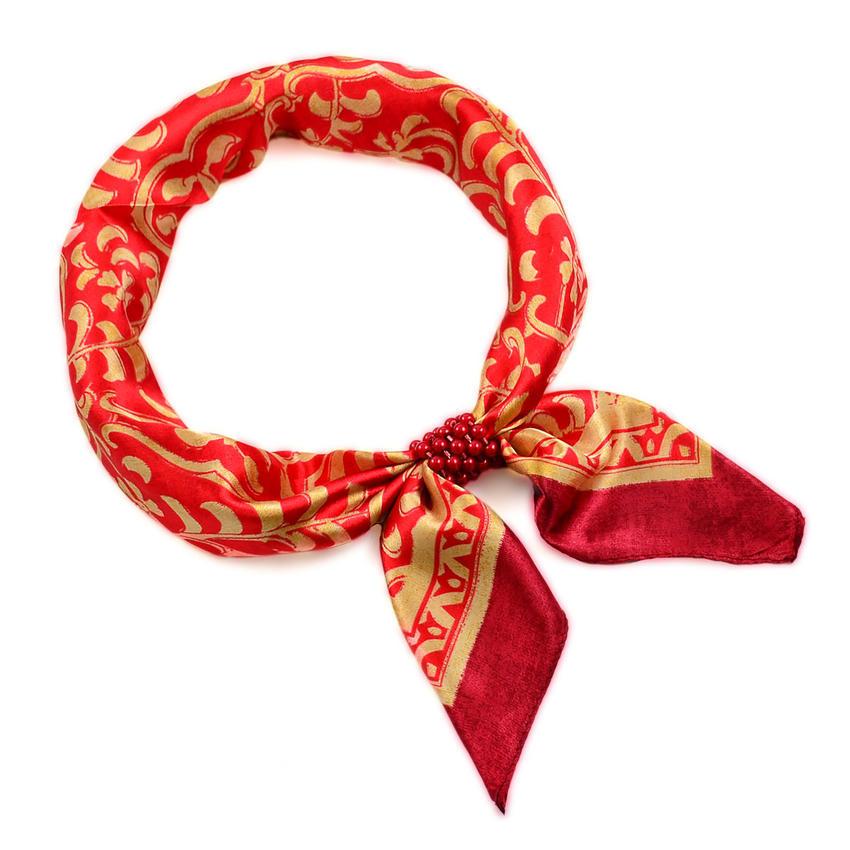 Šátek se sponkou Letuška Light 245lel009-20.13 - červeným se zlatým vzorem