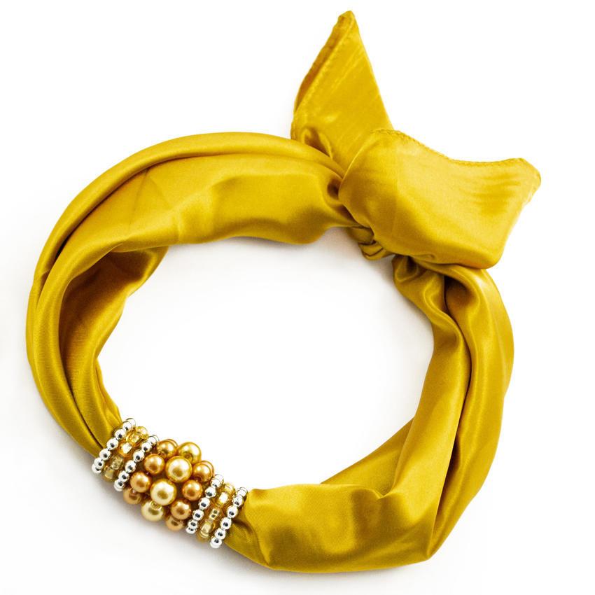 Šátek s bižuterií Letuška - zlatý