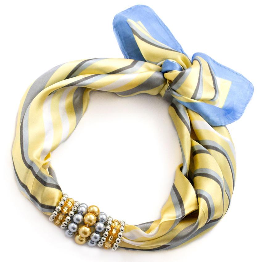 Šátek s bižuterií Letuška - žlutomodrý