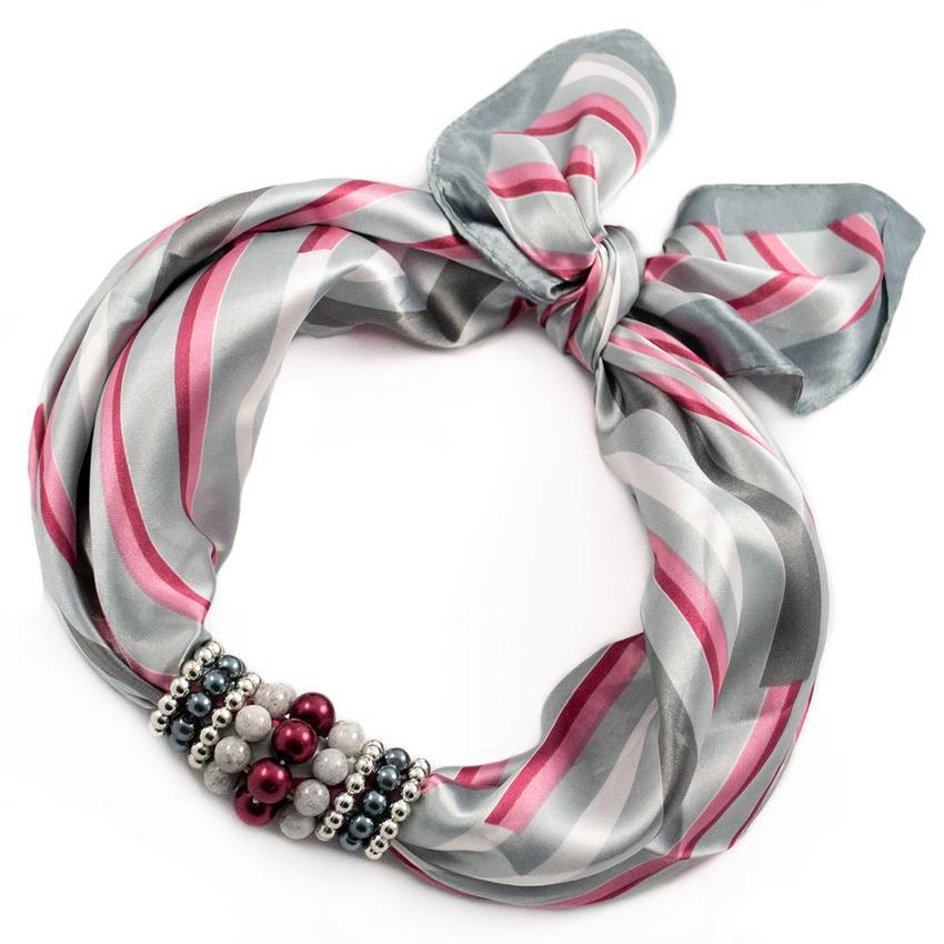 Šátek s bižuterií Letuška - šedorůžový