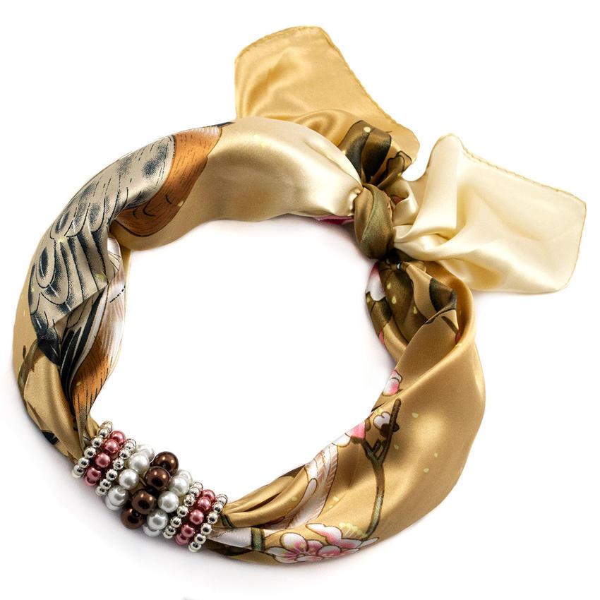 Šátek s bižuterií Letuška - zlatohnědý